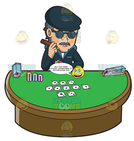 A Man Trying To Be Incognito While Playing Poker