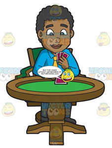 A Black Man Playing Poker