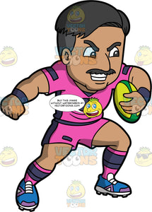 A Latin man running with a rugby ball under one arm. A Latin man with black hair and a mustache, wearing pink with black shorts, a pink with black shirt, pink and black socks, and  blue and purple rugby cleats, charges down the field with a green rugby ball under one arm