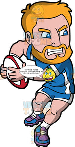 A man holding a red and white rugby ball in his hands. A man with ginger hair and beard, wearing blue and white shorts, a white shirt, white socks, and purple and blue rugby cleats, aggressively holds a red and white Rugby ball hands