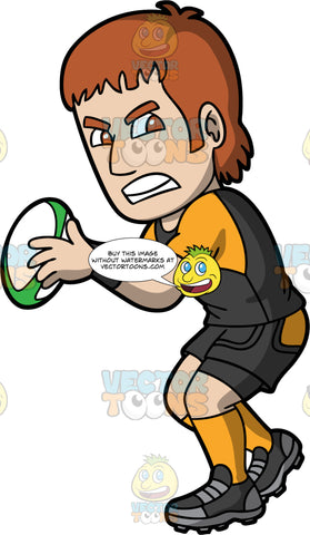 A man getting ready to throw a rugby ball. A man with short brown hair and brown eyes, wearing black with orange shorts, a black and orange shirt, orange socks, and black rugby cleats, has an aggressive look on his face as he is about to throw a white white green rugby ball