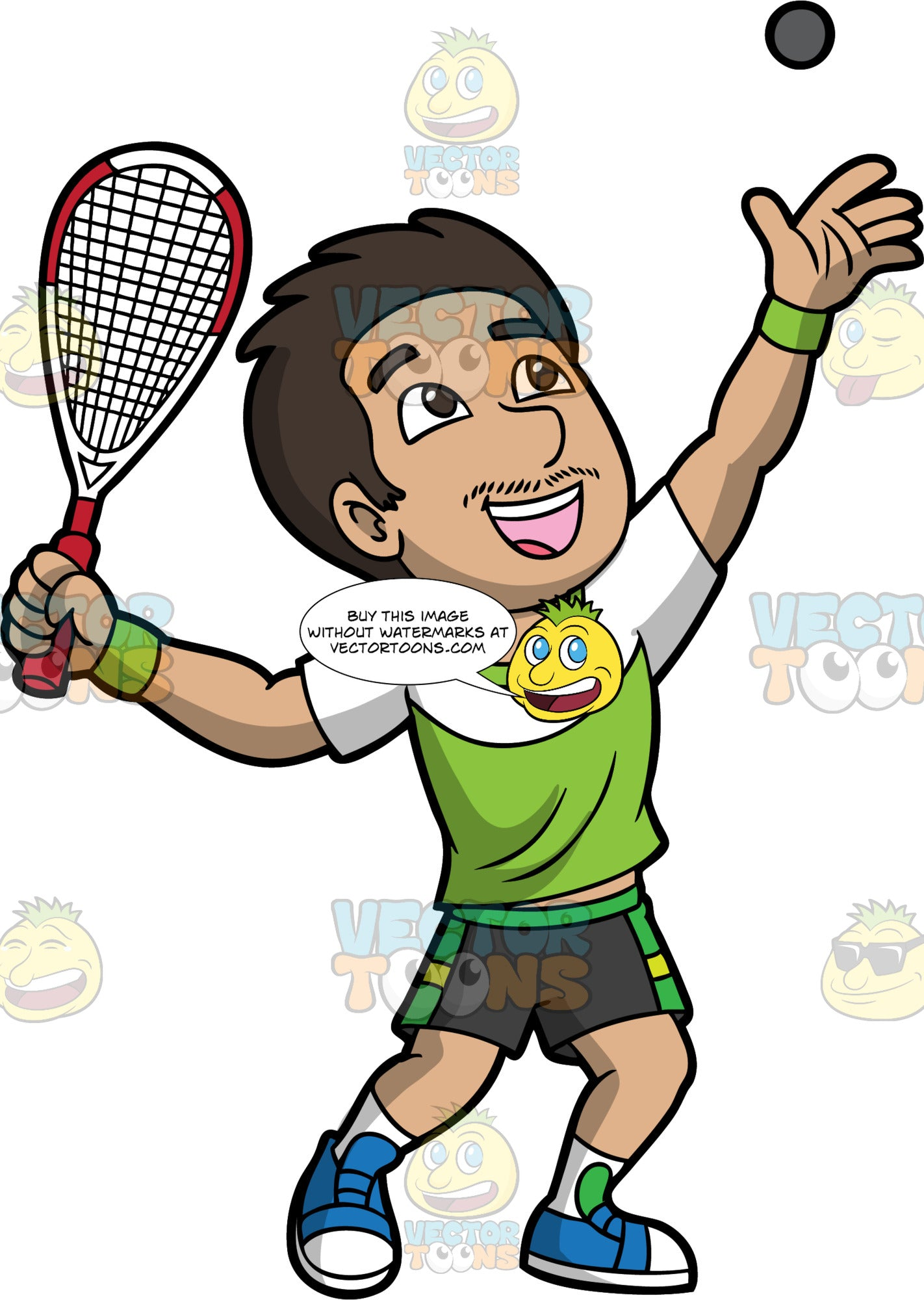 A Man Serving A Squash Ball. A man with dark brown hair and eyes, wearing dark gray with green shorts, a green and white shirt, white socks and blue shoes, throws a squash ball up in the air with one hand, while holding a racquet up with the other in preparation for serving the ball