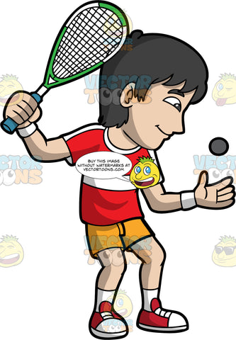 A Man Getting Ready To Play A Game Of Squash. A man with black hair, wearing orange shorts, a red and white shirt, white socks, and red shoes, throws a squash ball up in the air with one hand, while he holds onto a racquet with the other as he gets ready to start the game