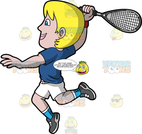 An Excited Man Playing A Game of Squash. A man with blonde hair and blue eyes, wearing white shorts, a dark blue shirt, light blue socks, and dark gray shoes, smiles as he jumps up and reaches his arm back with a squash racquet in his hand