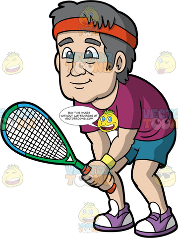 An Older Man Playing Squash. A senior man with gray hair, wearing blue shorts, a purple shirt, purple and white shoes, and a red headband, stands with a squash racquet in his hands ready for a game to begin