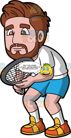 A Bearded Man Waiting For A Squash Game To Start. A man with brown hair and beard, wearing blue shorts, a white t-shirt, white socks and yellow and orange shoes, stands with a squash racquet in his hands waiting for the game to start