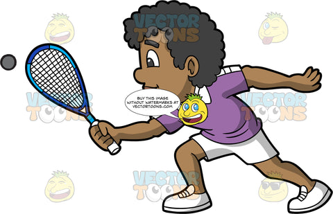 A Black Man Enjoying A Game Of Squash. A black man wearing white shorts, a purple shirt, and white shoes, reaches forward and tries to hit a squash ball with the racquet in his hand