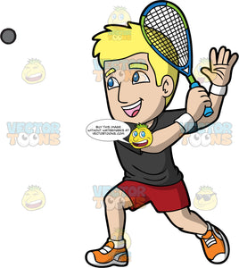 A Man Getting Ready To Hit A Squash Ball. A man with blonde hair and blue eyes, wearing red shorts, a black t-shirt, white socks and orange shoes, gets ready to hit a squash ball with the racquet in his hand