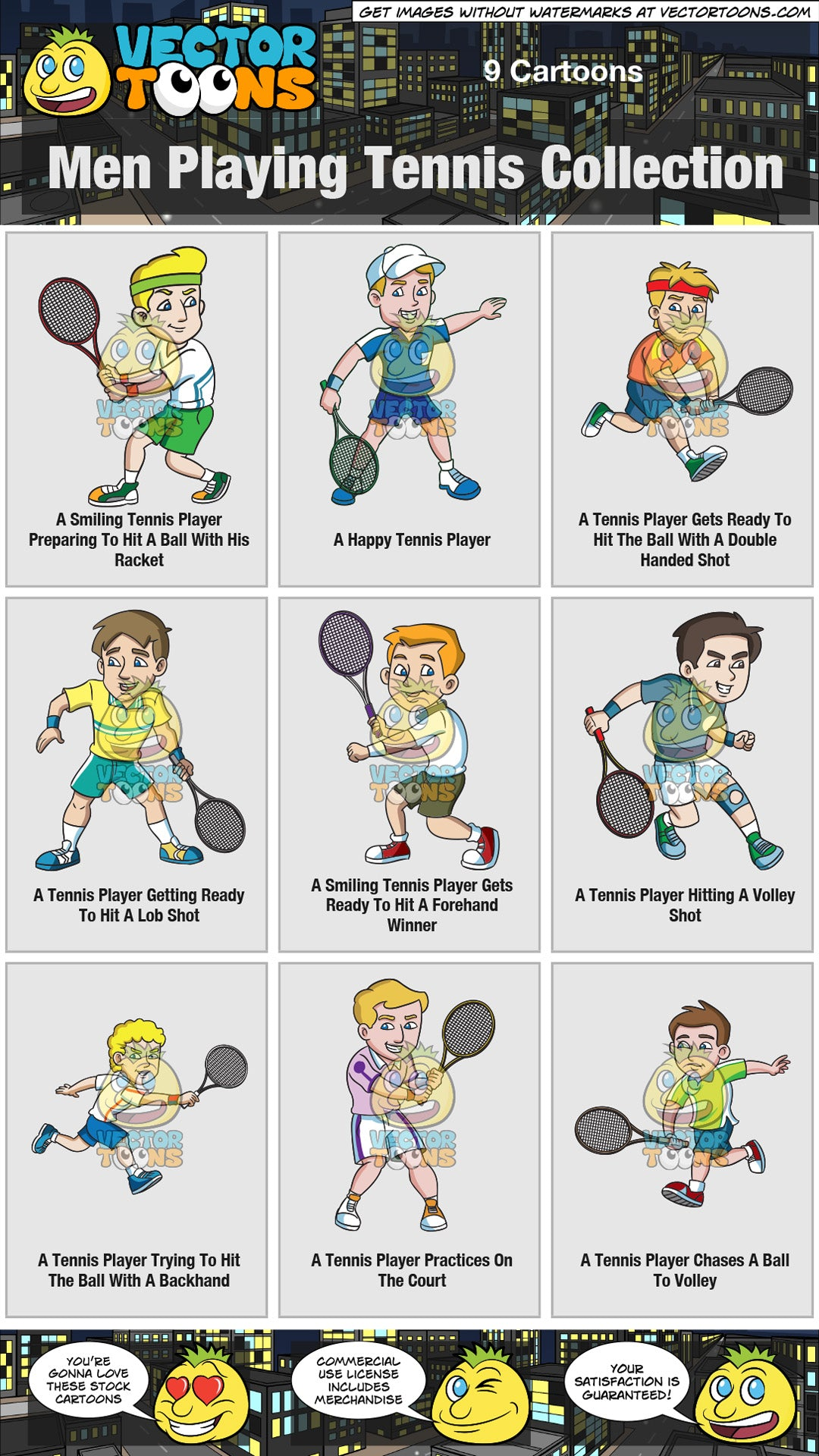 Men Playing Tennis Collection