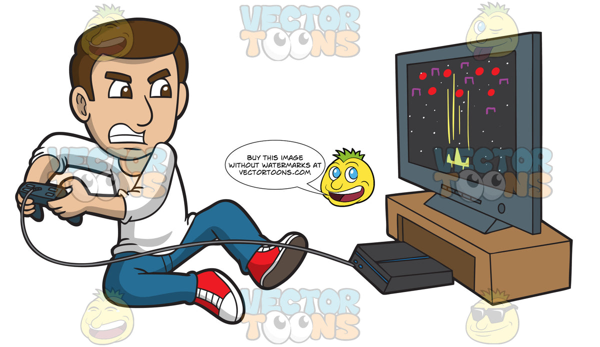 A Frustrated Man Playing Video Games Clipart Cartoons By Vectortoons