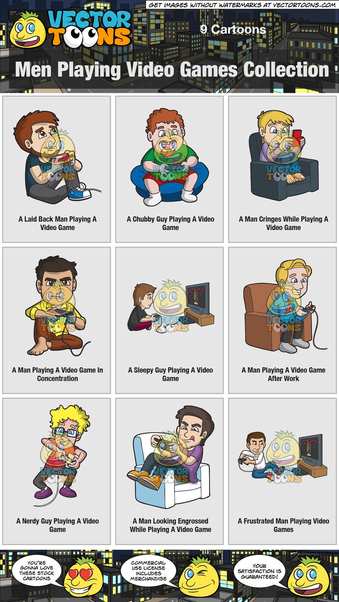 Men Playing Video Games Collection