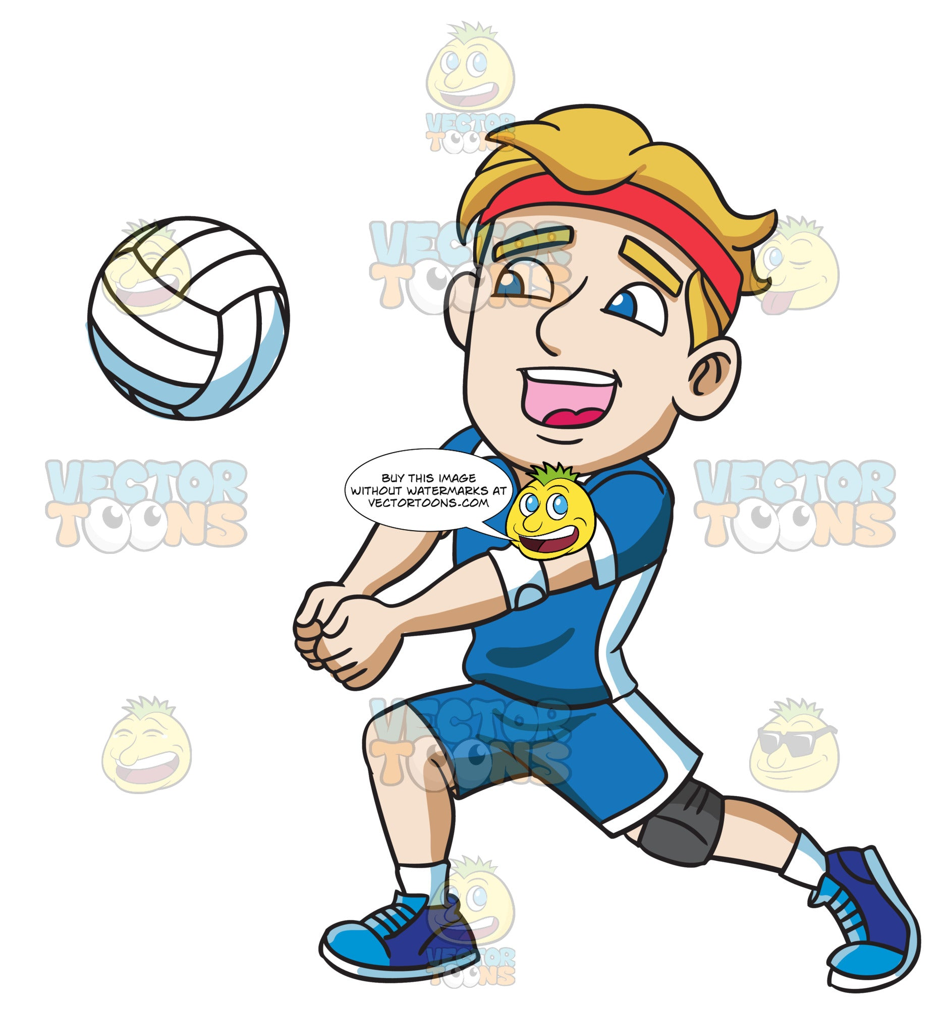 A Male Athlete Playing Volleyball – Clipart Cartoons By ...