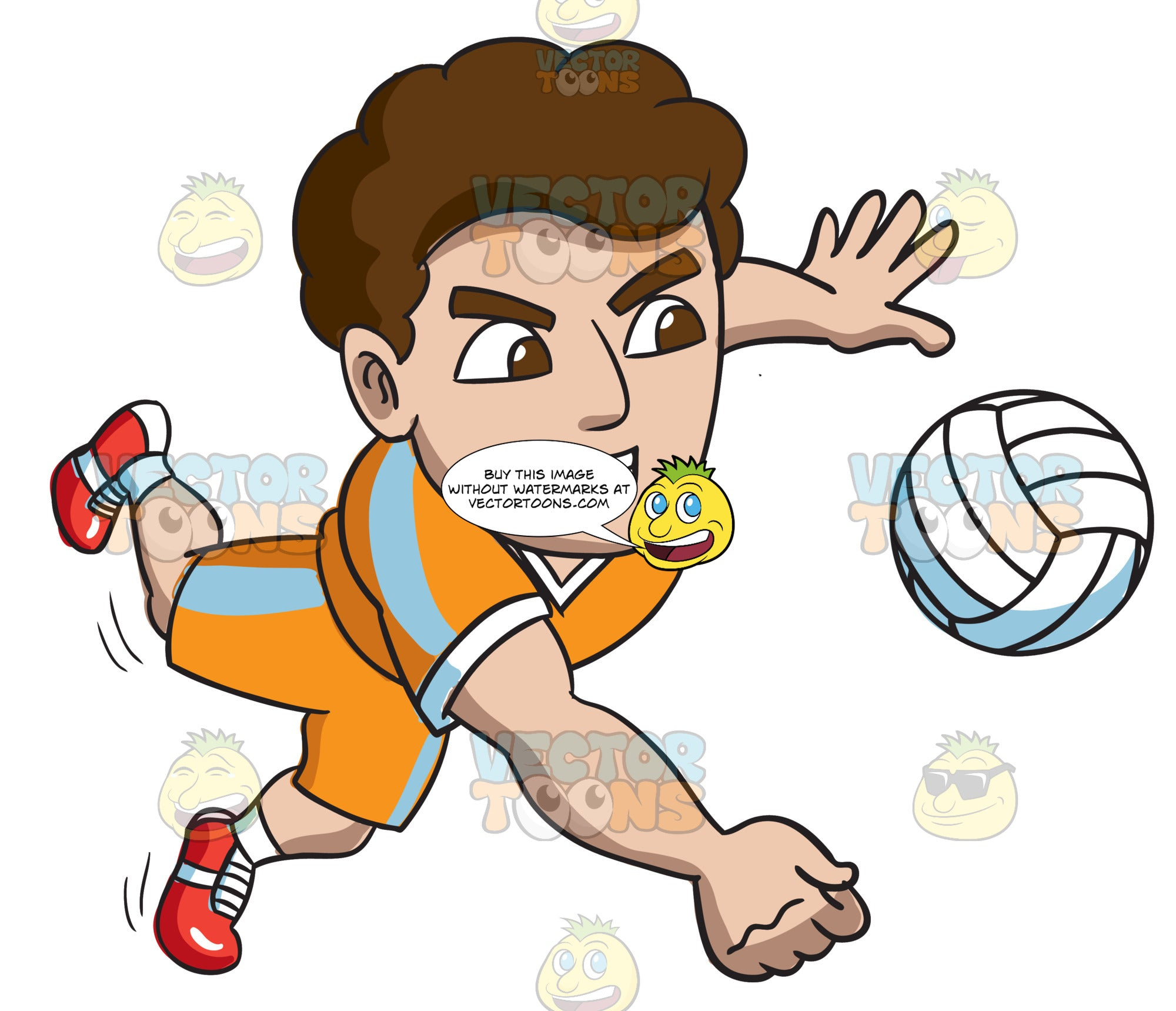 A Male Volleyball Athlete Goes For A Dig Clipart Cartoons By Vectortoons