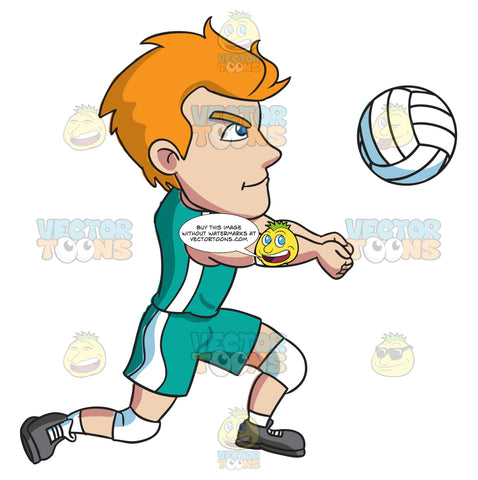 A Male Athlete Volleying A Ball