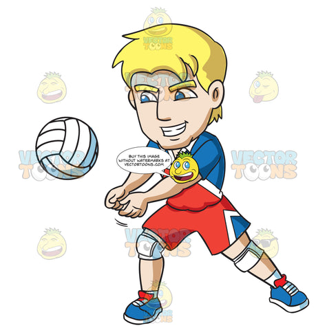A Happy Male Athlete Volleys A Ball