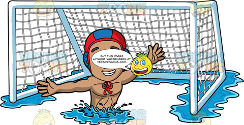 A Man Defending A Water Polo Goal. A man with light brown skin, wearing a red and blue water polo cap, treads water in front of a net and reaches his arms out to the sides in order to defend the goal