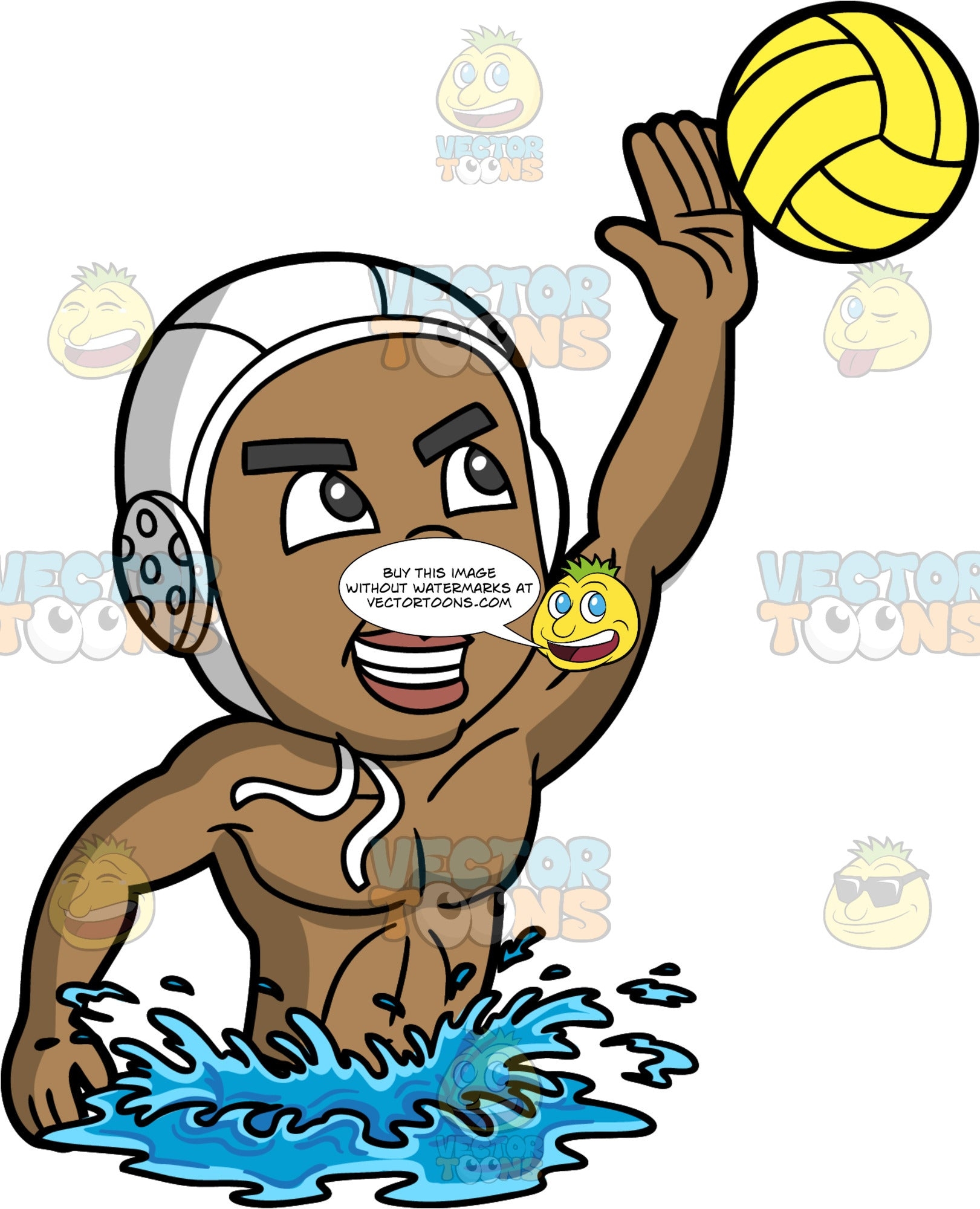 A Black Man Reaching Up To Catch A Water Polo Ball. A muscular black man wearing a white water polo cap, lifts his upper body out of the water and reaches his one arm up to catch a yellow water polo ball