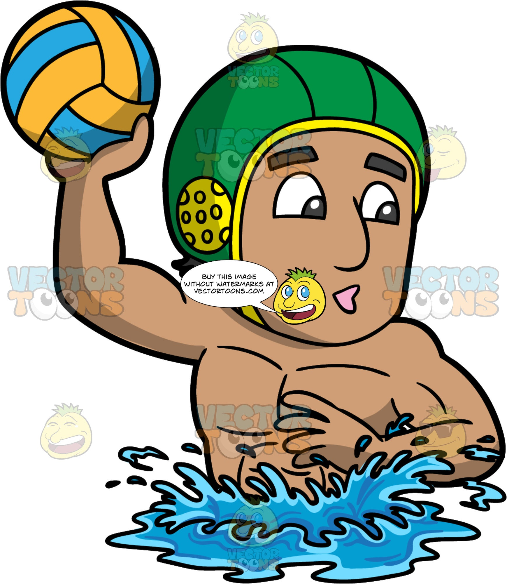 A Man Holding A Water Polo Ball. A man with light brown skin, wearing a green water polo cap, treads water as he holds onto an orange and blue water polo ball and looks for someone to throw it to