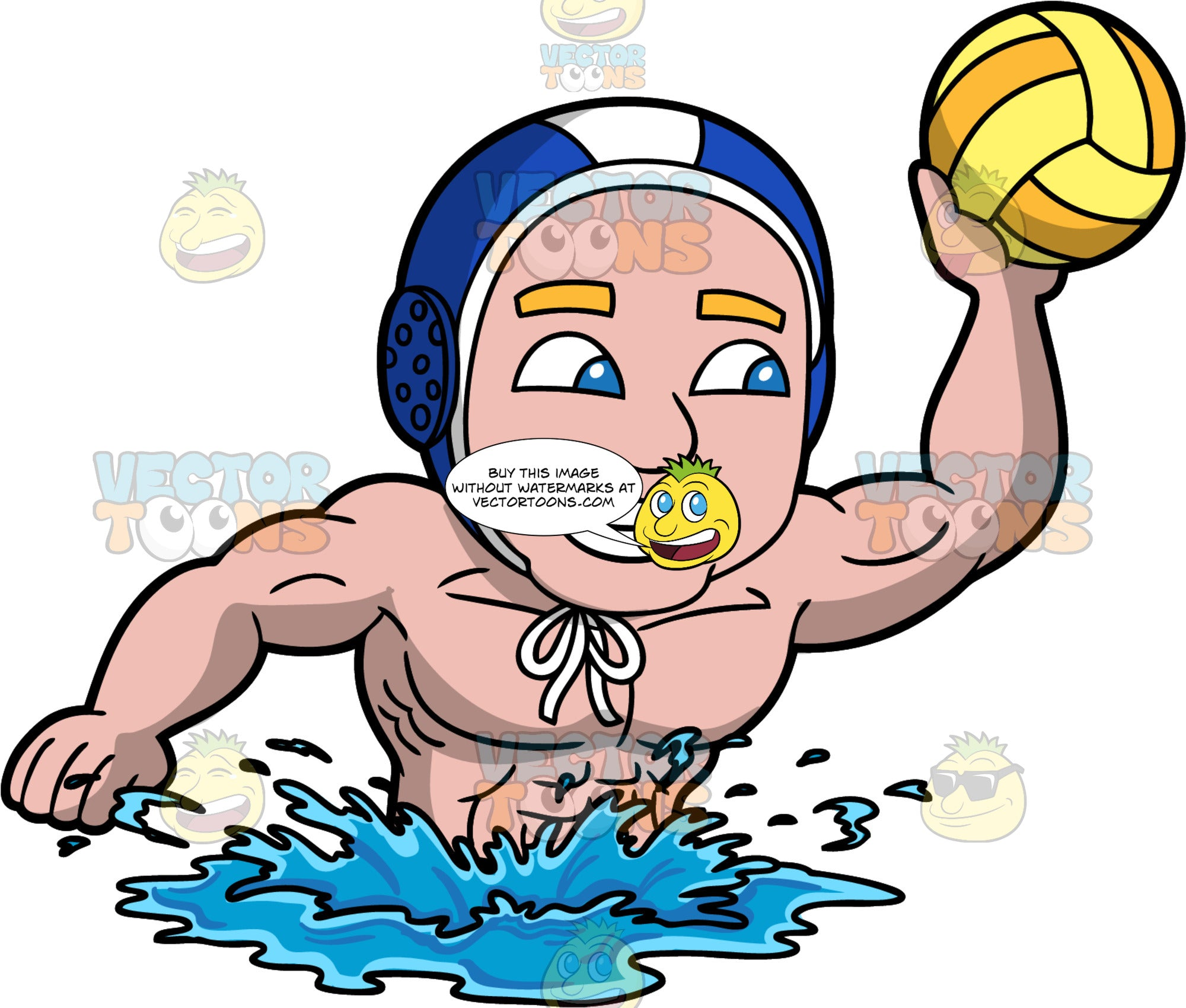 An Excited Man About To Throw A Water Polo Ball. A man with blue eyes, wearing a blue and white water polo cap, smiles as he lifts one arm up and gets ready to throw the orange and yellow water polo ball in his hand