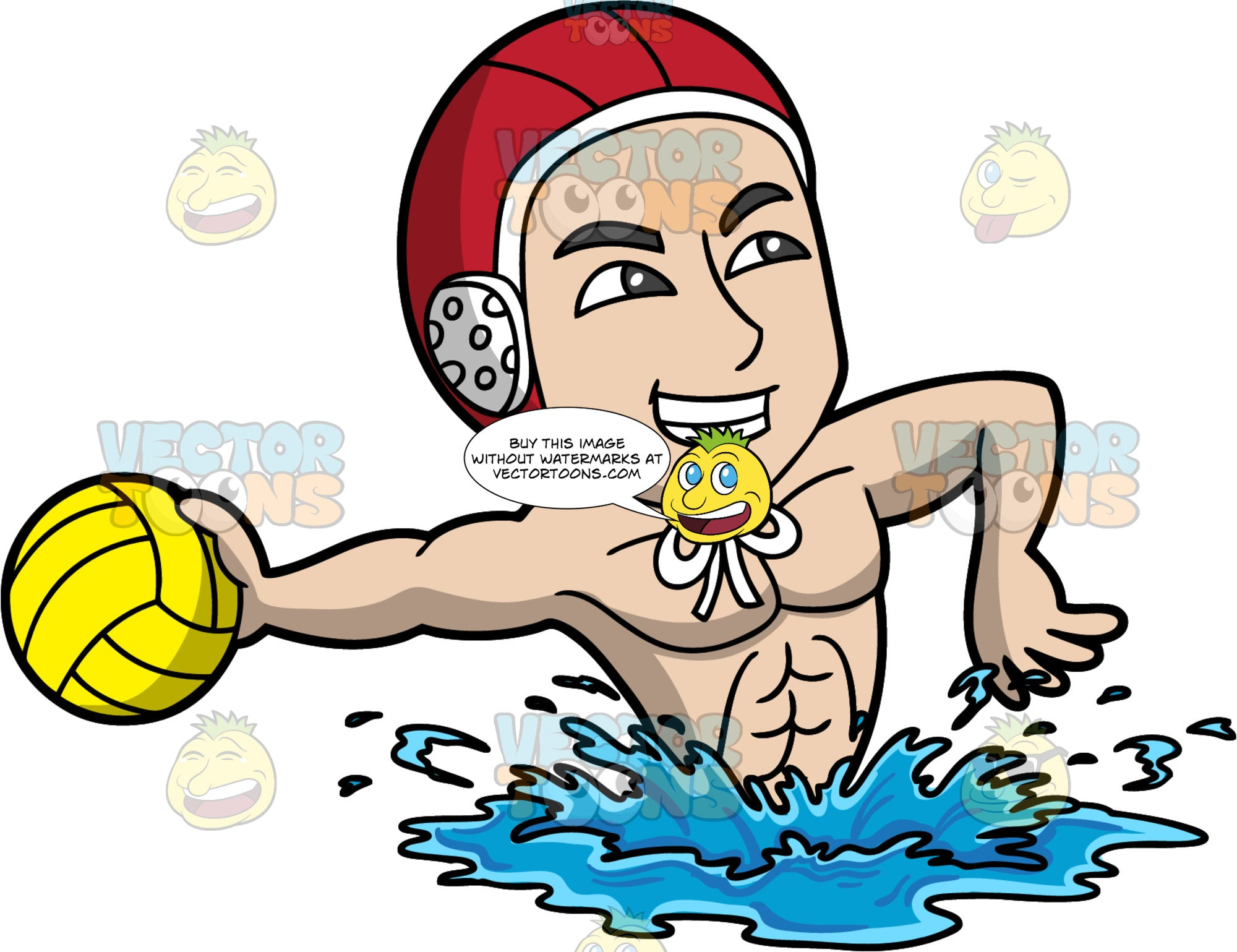 A Man Getting Ready To Throw A Water Polo Ball. A man wearing a red water polo cap, smiles as he reaches his arm behind him and gets ready to throw the yellow water polo ball in his hand
