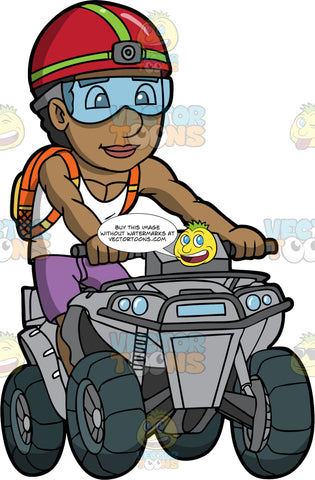 A Muscular Black Man Having Fun Driving His ATV. A muscular black man wearing purple shorts, a white tank top, clear safety glasses, red helmet with camera, and orange back pack, stands up as he drives his grey quad bike