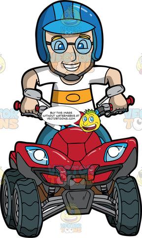 A Man Having Fun Driving His ATV. A man wearing blue pants, a white shirt with orange stripe in the middle, blue helmet and round eyeglasses, smiles as he drives around on his red quad bike