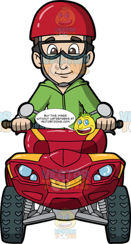 A Man Driving A Red Quad Bike. A man with brown hair and eyes, wearing a green hooded sweatshirt, red helmet, and safety glasses, holds onto the handlebars of the red ATV he is driving