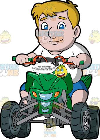A Chubby Man Driving A Green Quad Bike. A cubby man with blonde hair and blue eyes, wearing blue shorts and a white t-shirt, driving around on a green ATV with orange brake levers