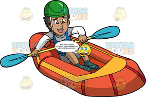 An Indian Man Making His Way Through Some Rapids On His Raft. An Indian man wearing grey shorts, grey and white shirt, blue life vest, grey water shoes and green helmet, steers his orange raft with the double bladed paddle in his hands