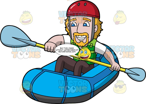 A Man Having Fun Rafting. A man wearing black pants, a white t-shirt, green life jacket, and red helmet, sitting in a blue inflatable raft, holding a double bladed paddle, smiling as he steers his raft along the water