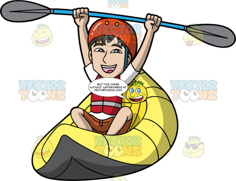 A Man Excited About Getting Through A Patch Of Rough Water In His Raft. A man wearing brown shorts, a white t-shirt, red life jacket, and orange helmet, sits in a yellow raft and lifts his arms up in the air while holding a double bladed paddle in both hands