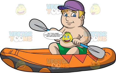 A Chubby Man Sitting In An Orange Raft. A chubby man with blonde hair, wearing green shorts and no shirt, sits in an orange raft holding a double bladed paddle in both hands and guides his way through calm waters