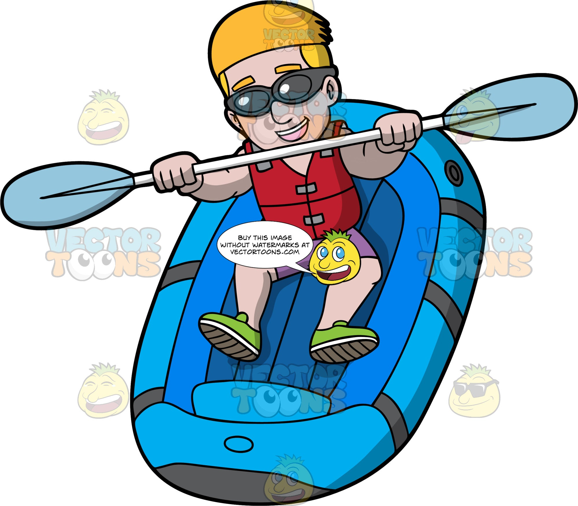 A Man Rafting Down Some River Rapids. A man with blonde hair, wearing purple shorts, a red life jacket, green water shoes and sunglasses, holds onto a double sided paddle as his blue raft drops down some rapids