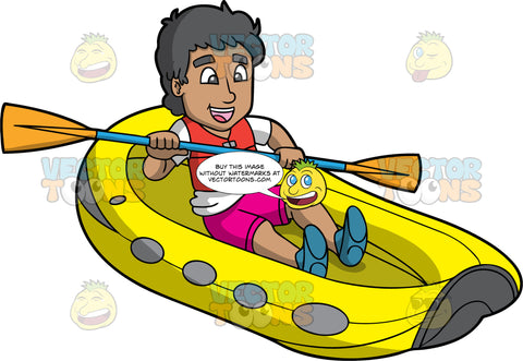 A Man Steering His Raft Through A River. A Mexican man wearing pink shorts, white t-shirt, a red life jacket, and blue water shoes, sits in a yellow raft and guides it through the water with the double bladed paddle in his hands