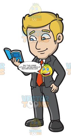 A Businessman Reading A Pocketbook