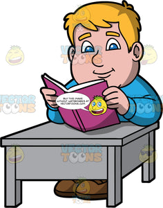 Sam Reading An Interesting Book. A chubby man wearing a blue shirt, sitting down at a gray table and reading a book with a purple cover