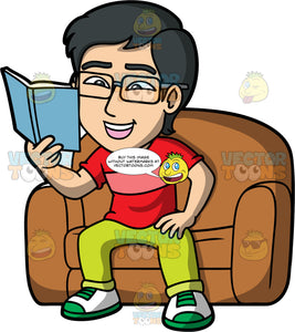 Simon Reading A Good Book. An Asian man wearing lime green pants, a red shirt, and white green running shoes, and eyeglasses, sitting in a big brown chair reading a fascinating book