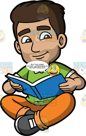 Gabriel Reading A Novel. A Hispanic man wearing orange pants, a green shirt, and dark gray shoes, sitting on the floor reading a book