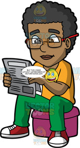 An Intelligent Black Man Sitting Down And Reading A Newspaper. A black man with curly hair, wearing a pair of eyeglasses, orange shirt, green pants, red with white sneakers, sitting on a fuchsia ottoman, smiles while reading a newspaper