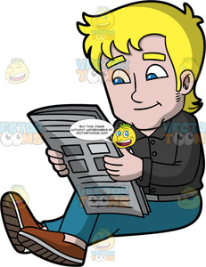A Casual Guy Reading A Newspaper. A man with blonde hair, wearing a black dress shirt, gray belt, teal pants, brown shoes, smirks and sits on the floor while reading a newspaper