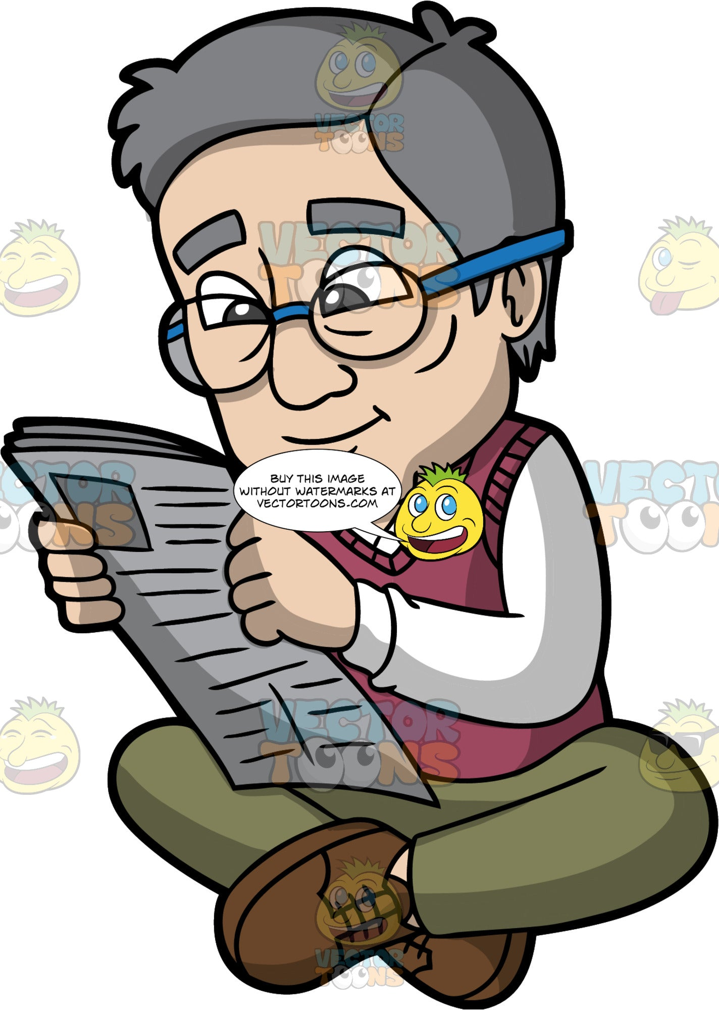 A Senior Citizen Reading A Newspaper. An old man with gray hair, wearing a pair of eyeglasses, white sweatshirt, fuchsia vest, olive green pants, brown shoes, smiles while reading a newspaper