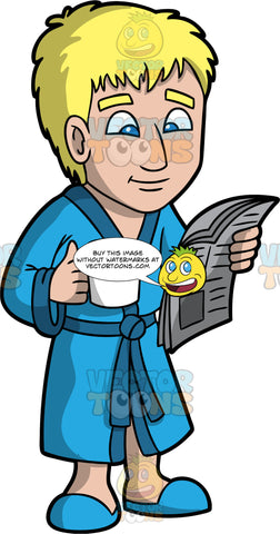 A Man Reading A Newspaper While Drinking Coffee. A man with blonde hair, wearing a blue bath robe, slippers, smiles while reading a newspaper as he drinks coffee from the white mug in his right hand