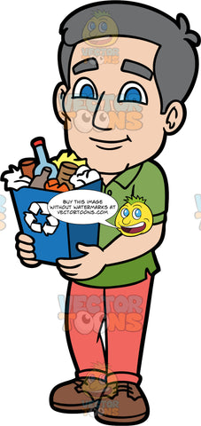 Bob Carrying A Full Recycling Bin. A mature man wearing coral coloured pants, a green shirt, and brown shoes, holding a blue recycling bin filled with recyclable items