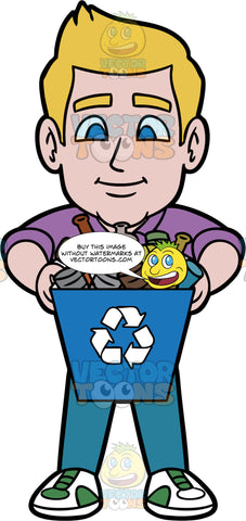 Matthew Holding A Recycling Bin Filled With Bottles And Cans. A man wearing blue pants, a purple shirt, and green and white shoes, holding a blue recycling bin filled with empty glass and plastic bottles, and metal cans