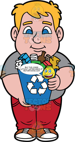 Sam Carrying A Bin Filled With Recyclable Items. A man wearing red pants, a gray shirt, and brown and white shoes, holding a blue recycling bin filled with plastic, glass, and paper