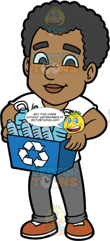 Jimmy Carrying A Recycling Bin Filled With Plastic. A black man wearing gray pants, a white t-shirt, and brown shoes, holding a blue bin filled with plastic containers