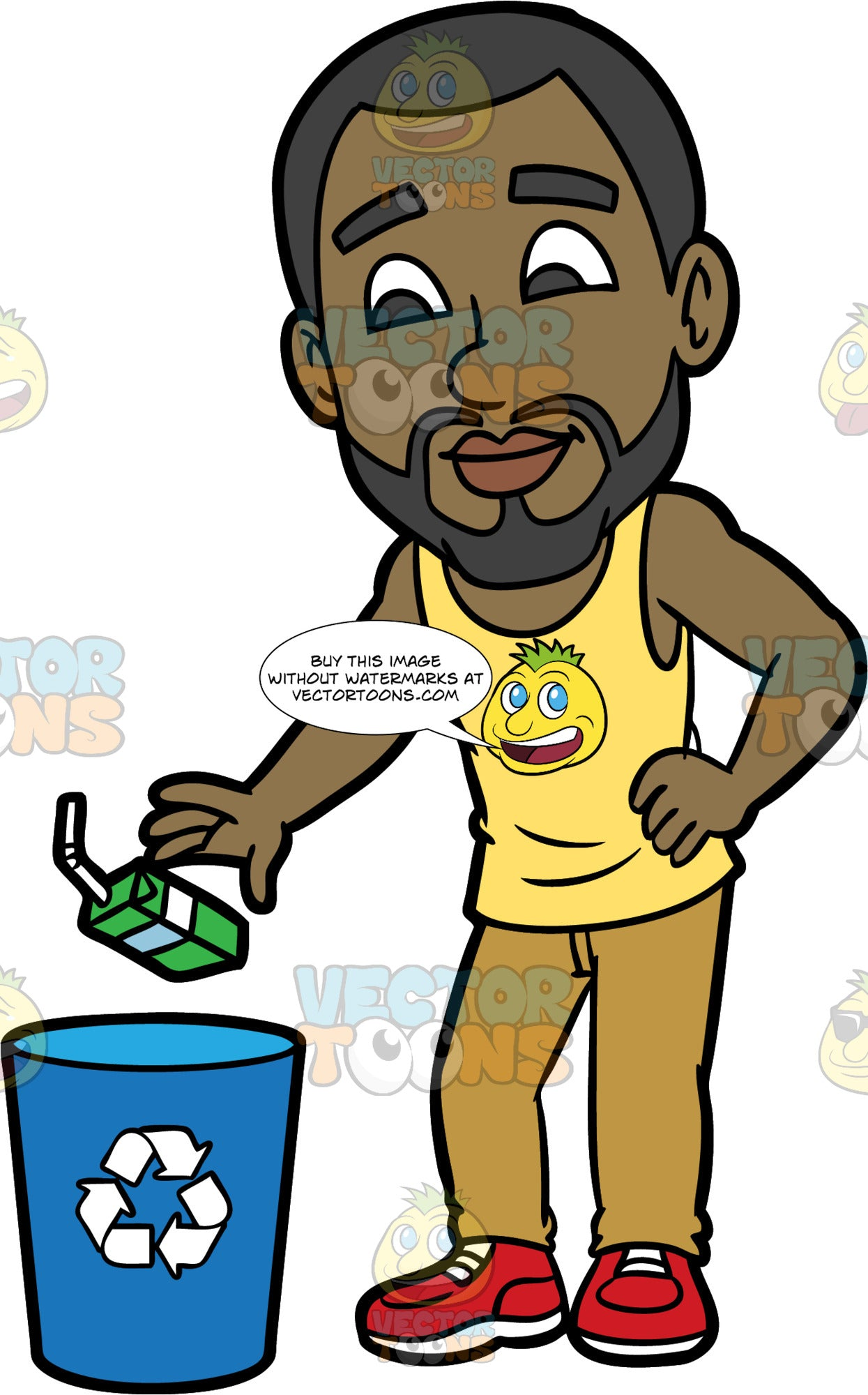 Calvin Throwing An Empty Juice Box Into A Recycling Bin. A black man with a beard, wearing light brown pants, a yellow tank top, and red shoes, throwing a drinking box with a plastic straw into a recycling bin