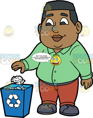 James Throwing Paper Into A Recycling Bin. A black man wearing brown pants, a long sleeve green shirt, and dark gray shoes, throwing a crumpled up piece of paper into a blue recycling bin