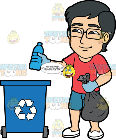 Simon Throwing A Plastic Bottle Into A Recycling Bin. An Asian man wearing blue shorts, a red t-shirt, white shoes, eyeglasses, and rubber gloves, holding a trash bag in one hand and a plastic water bottle in the other, getting ready to throw it in a blue recycling bin