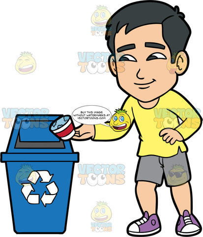 Kevin Throwing A Paper Container Into A Recycling Bin. An Asian man wearing gray shorts, a long sleeve yellow shirt, and purple shoes, throwing a paper cup into a blue recycling bin